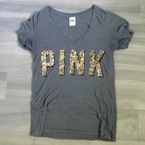 PINK VICTORIA'S SECRET GOLD SEQUIN T-SHIRT TOP, L